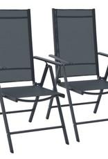 3-delige Bistroset aluminium en textileen zwart