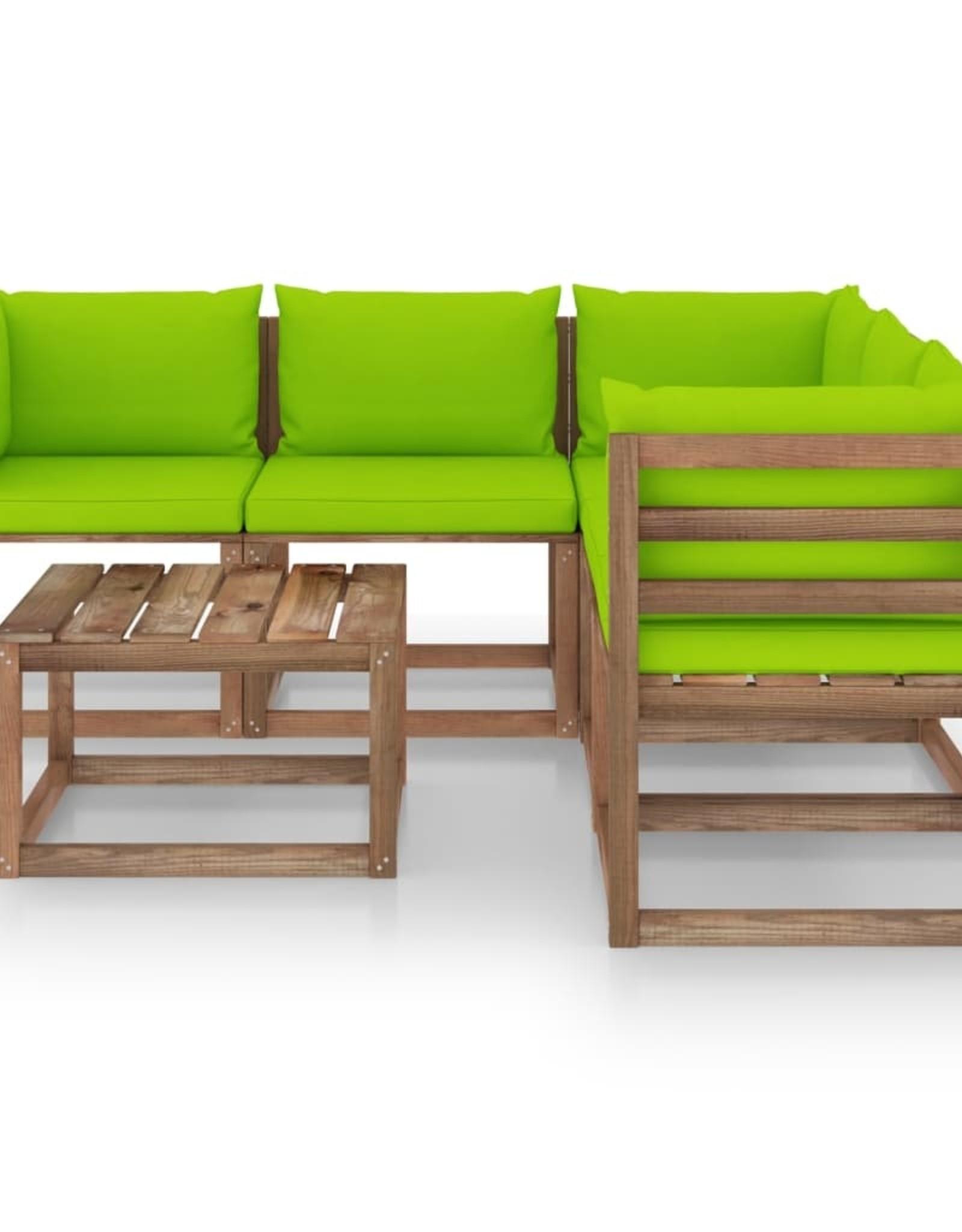 6-delige Loungeset met heldergroene kussens grenenhout