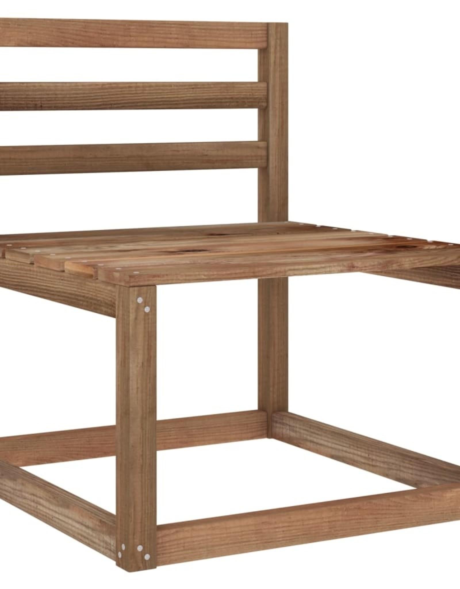 6-delige Loungeset met groene kussens geïmpregneerd grenenhout