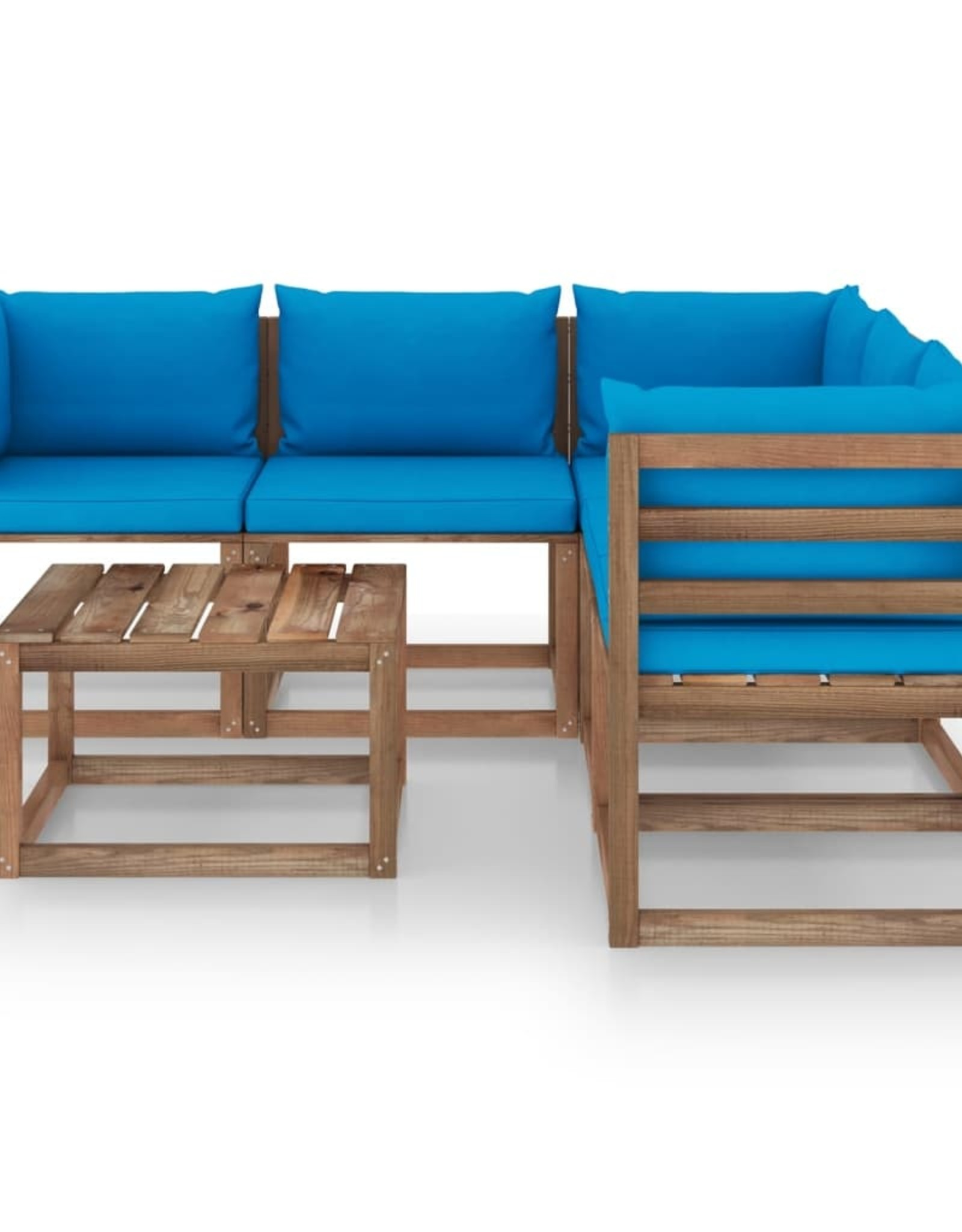 6-delige Loungeset lichtblauwe kussens geïmpregneerd grenenhout