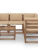6-delige Loungeset met beige kussens geïmpregneerd grenenhout