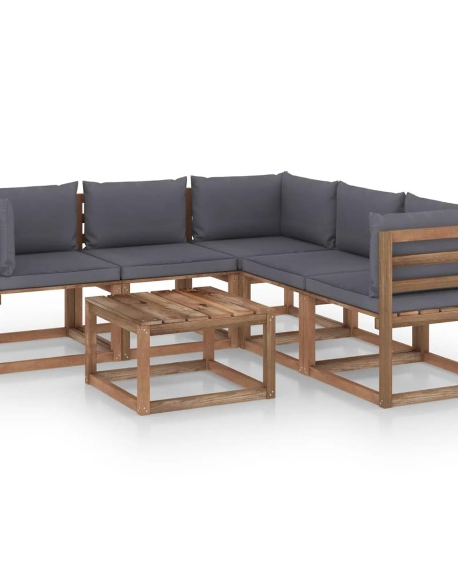 6-delige Loungeset met antracietkleurige kussens grenenhout