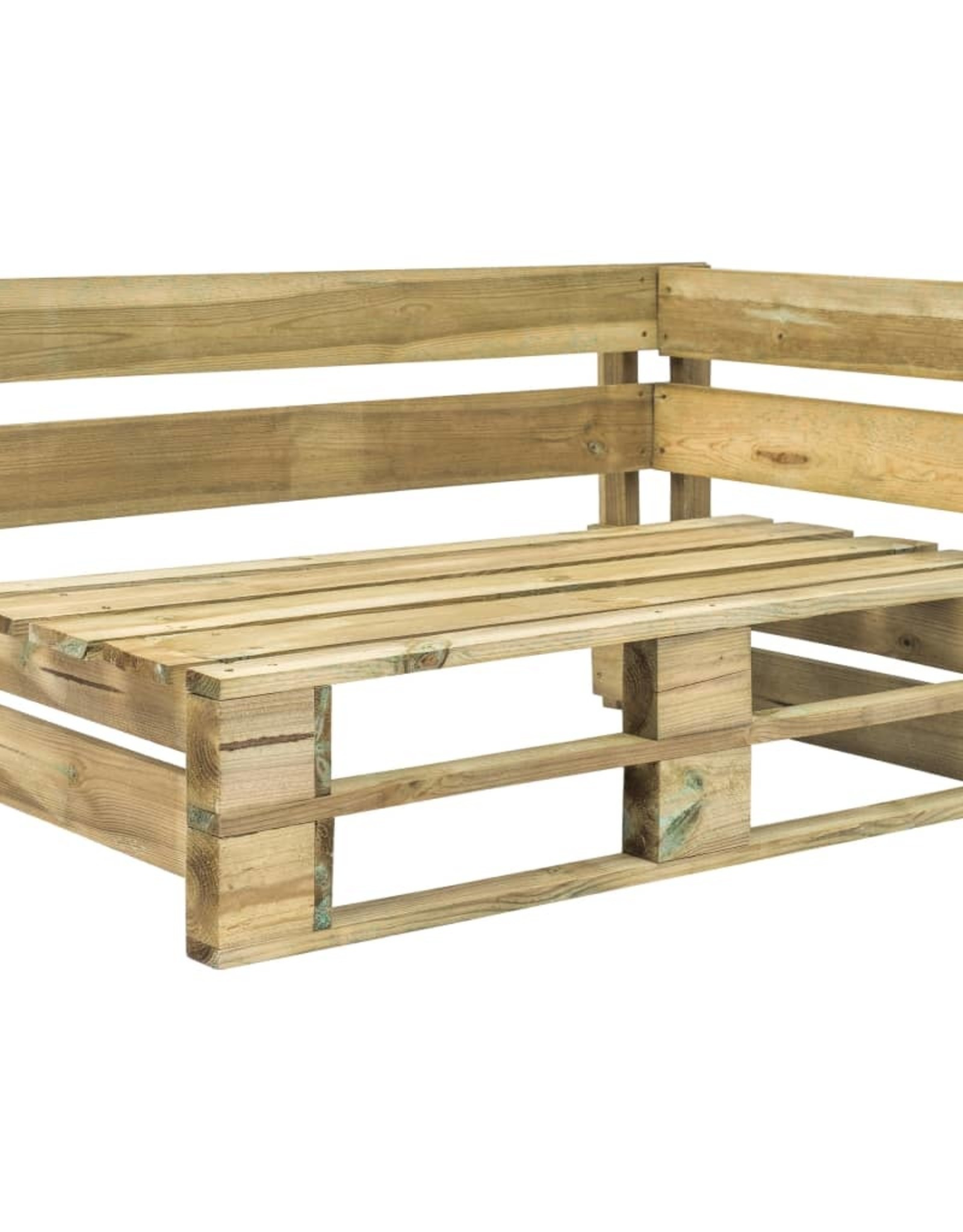 4-delige Loungeset pallet met kussens groen geïmpregneerd hout