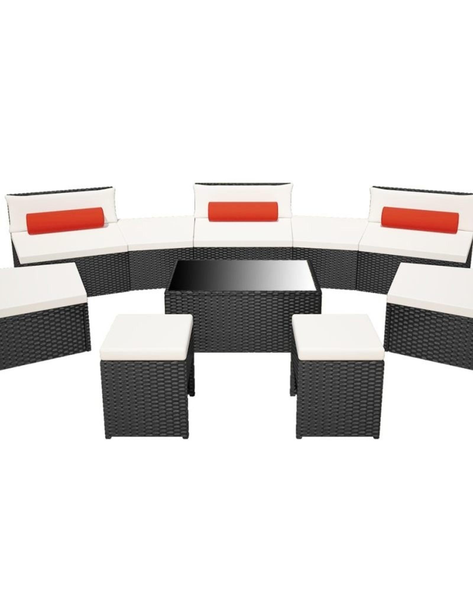 10-delige Loungeset met kussens poly rattan zwart