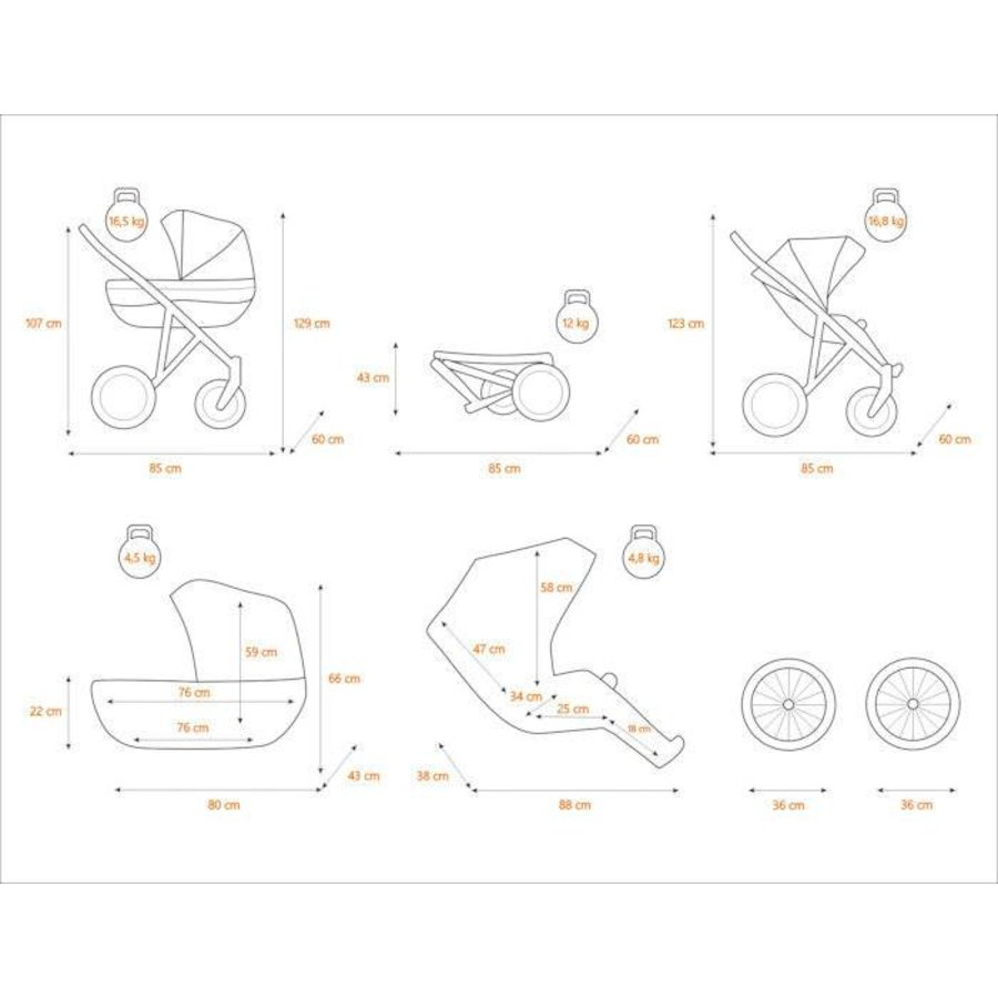 3 In 1 Retro kinderwagen combi Romantic 5-3