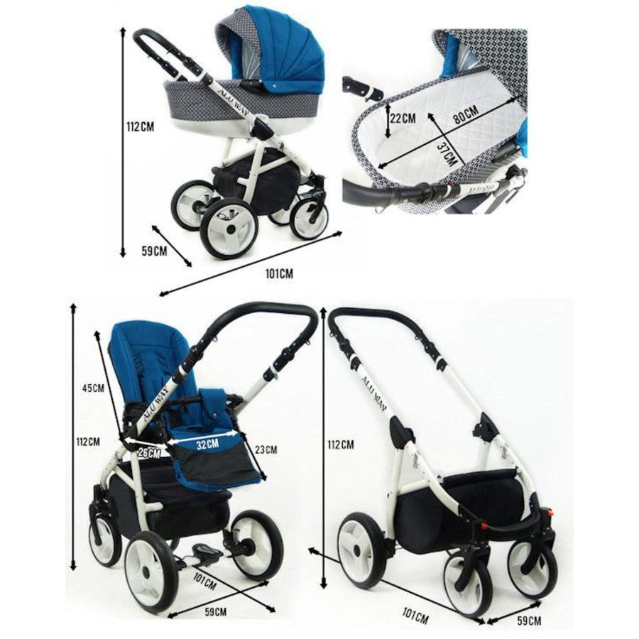 3 in 1 Combi kinderwagen Alu Way 3-8