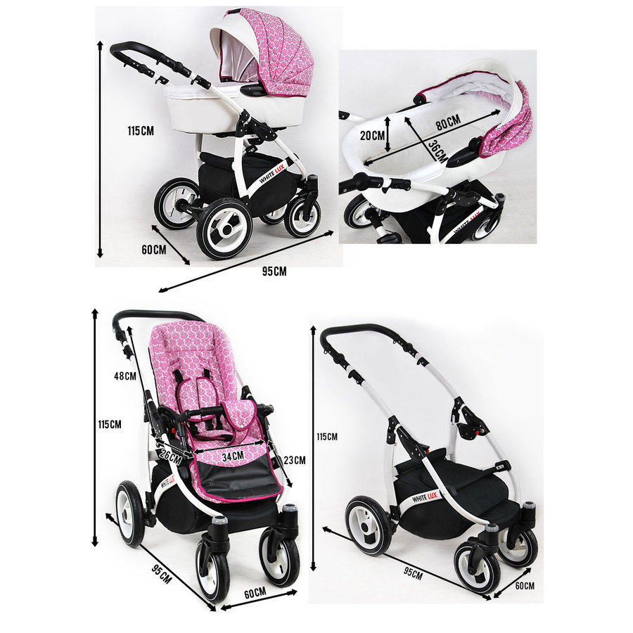 3 in 1 Combi kinderwagen White Lux - 12-4
