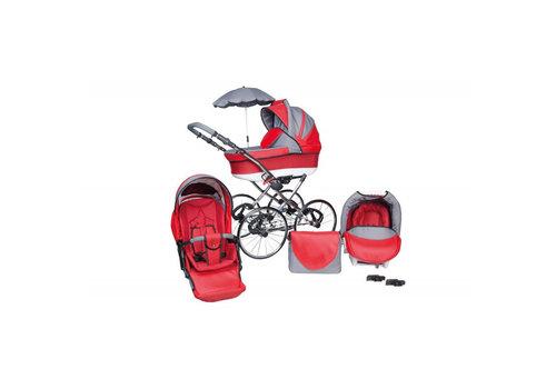 3 in 1 Retro kinderwagen Classic Lux - rood
