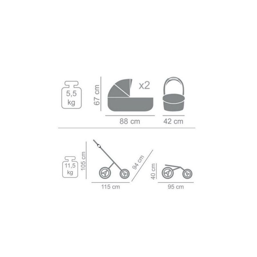 Tweeling kinderwagen Corona Duo 1-10