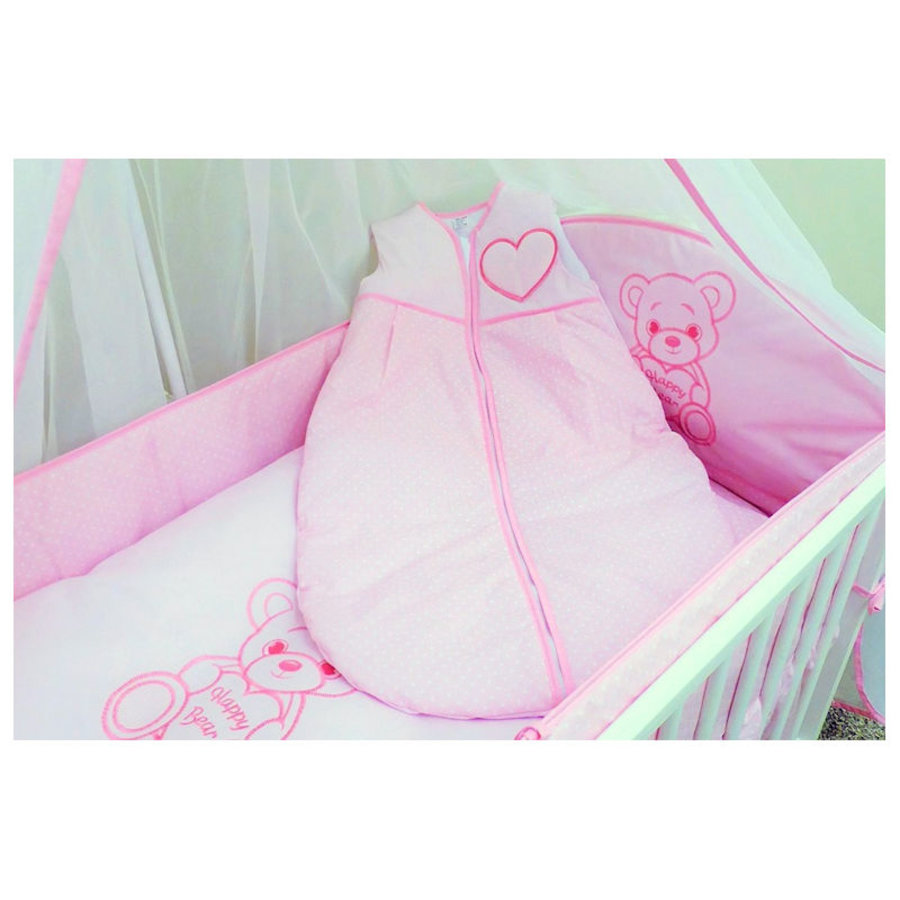 Baby slaapzak Happy Bear - roze-1