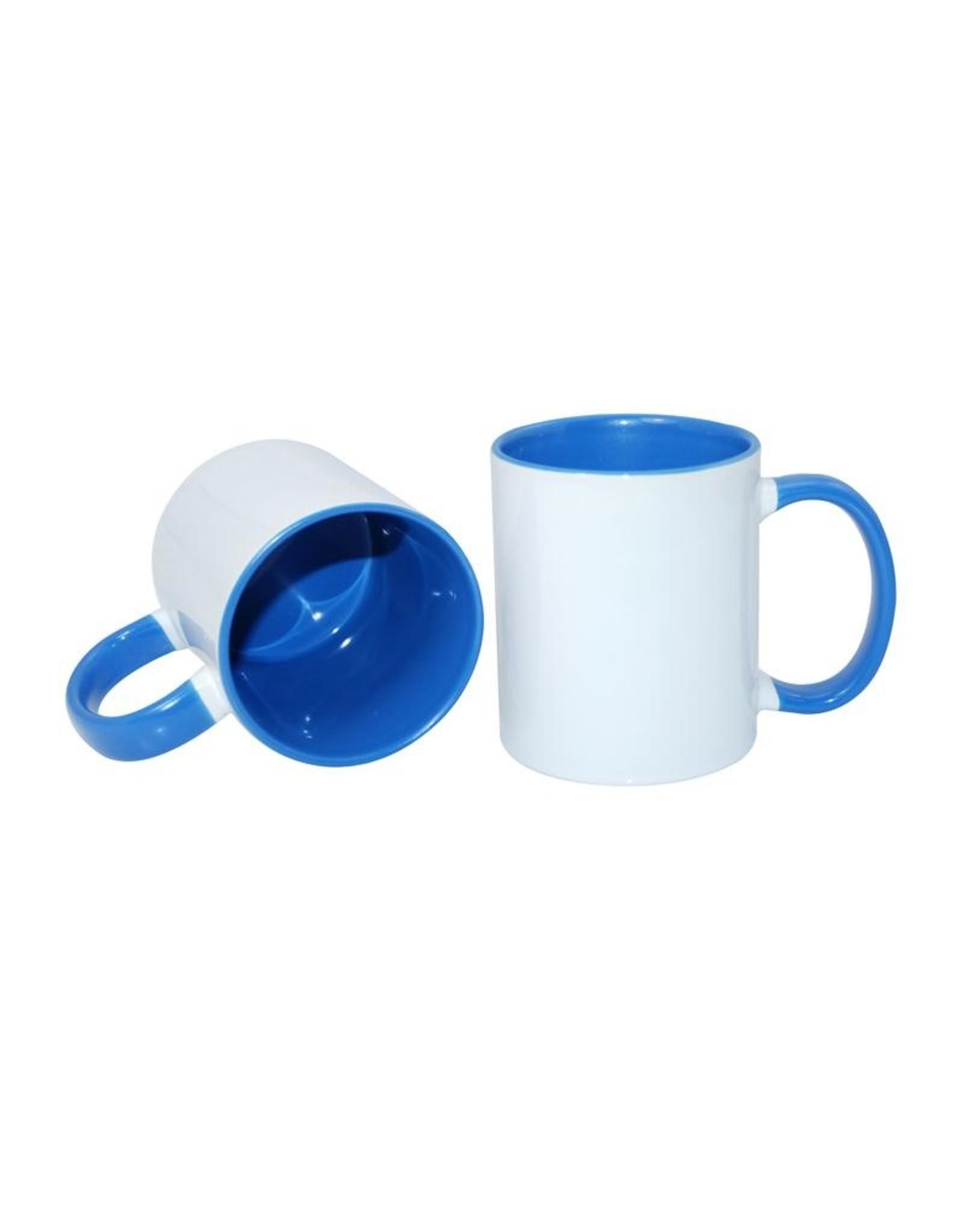 Mok met lichtblauw gekleurde binnenkant en handvat