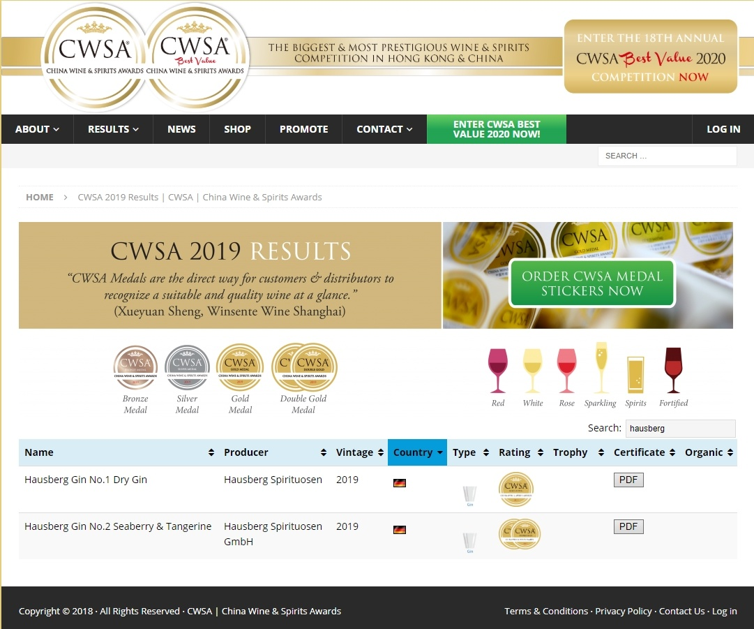 Die Hausberg Gins gewinnen Gold und Doppel-Gold beim Spirituosenwettbewerb China Wine and Spirits Award 2019 (CWSA) in Hong Kong (Teil No.1 / 2)