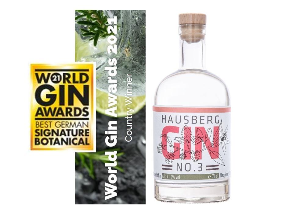 Hausberg Gin No.3 ausgezeichnet als bester deutscher Gin bei den World Gin Awards 2021 in England