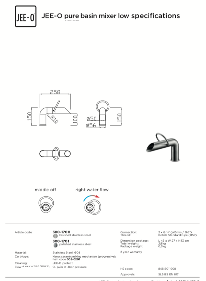 Pure basin mixer low