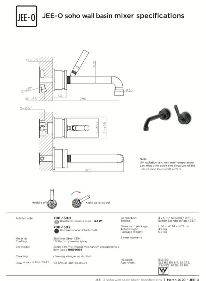 - Soho wall basin mixer