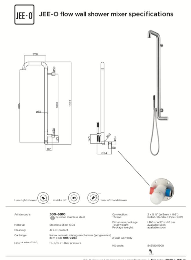 Flow wall shower mixer