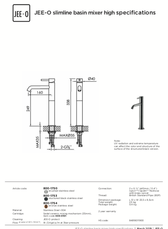 - Slimline basin mixer high