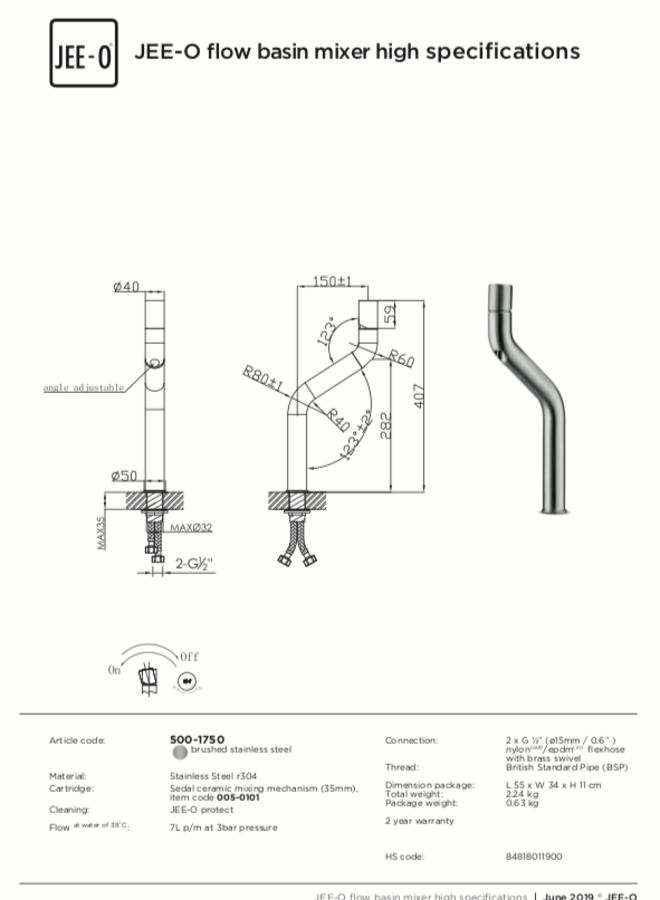 - Flow basin mixer high