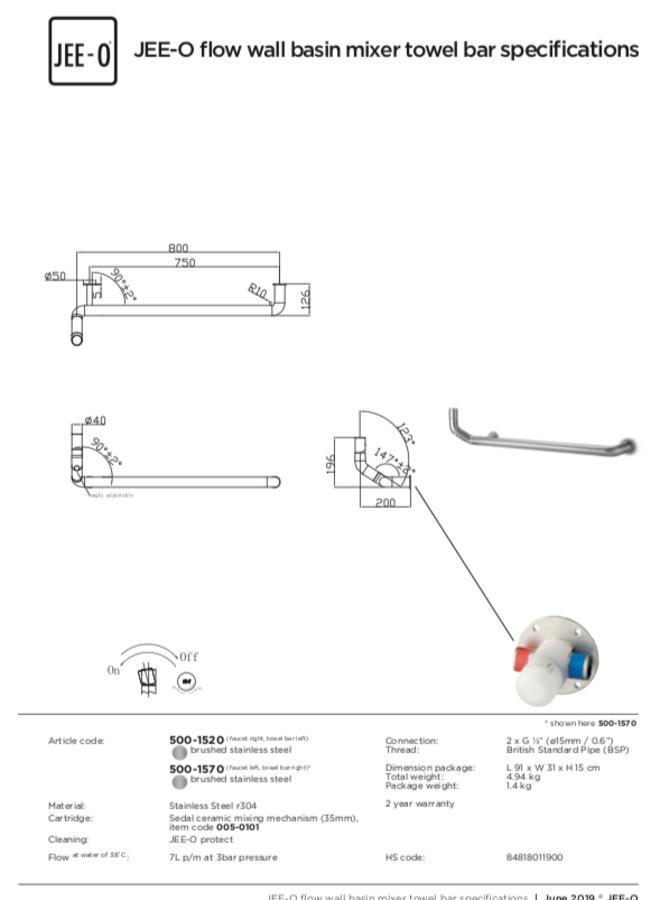 Flow wall basin mixer towel bar  bar