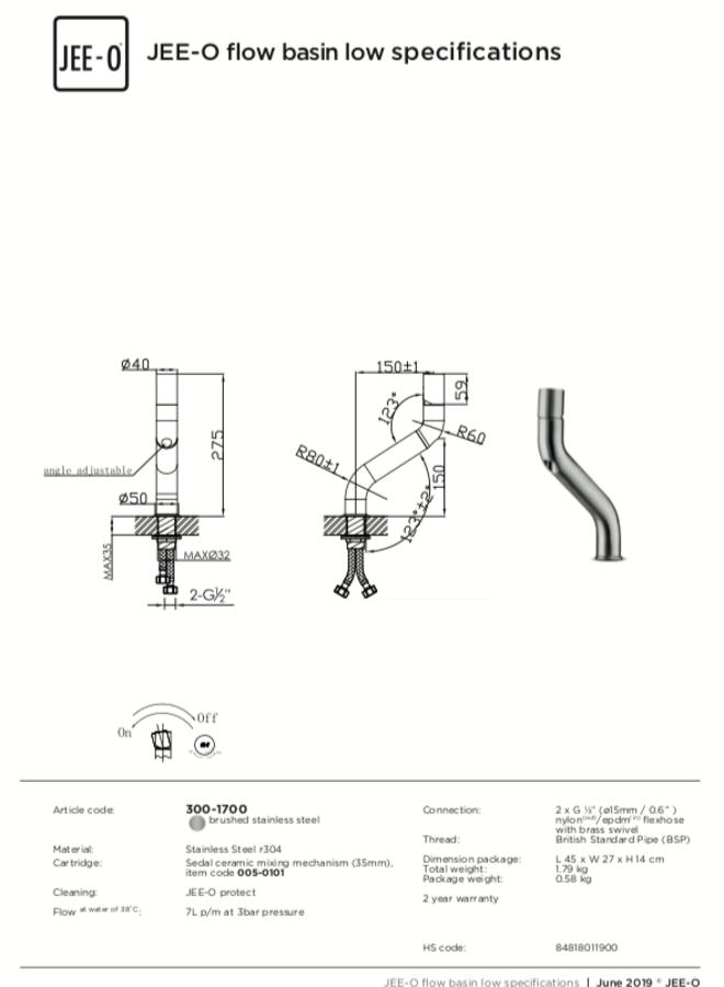 -  Flow basin mixer low