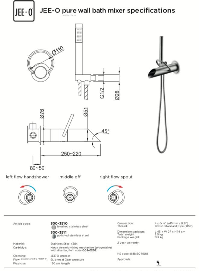 Pure wall bath mixer