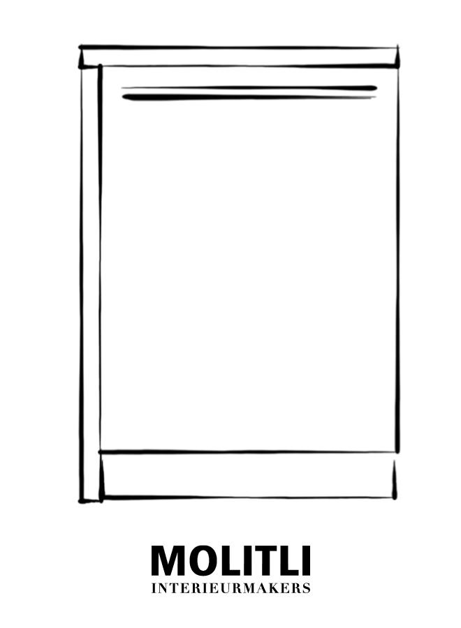 Hoekkast  met deur links 60 cm - blad 4 cm dik - Kast 64 cm breed