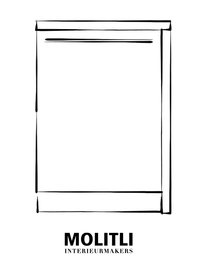 Hoekkast  met deur recht 60 cm - blad 4 cm dik - Kast 64 cm breed