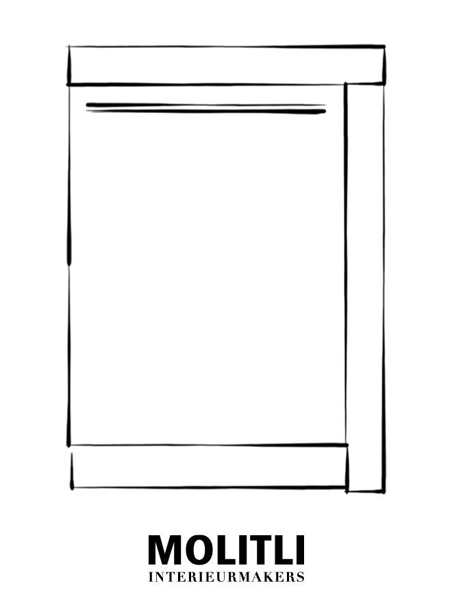 Hoekkast  met deur rechts 60 cm - blad 8 cm dik - Kast 68 cm breed