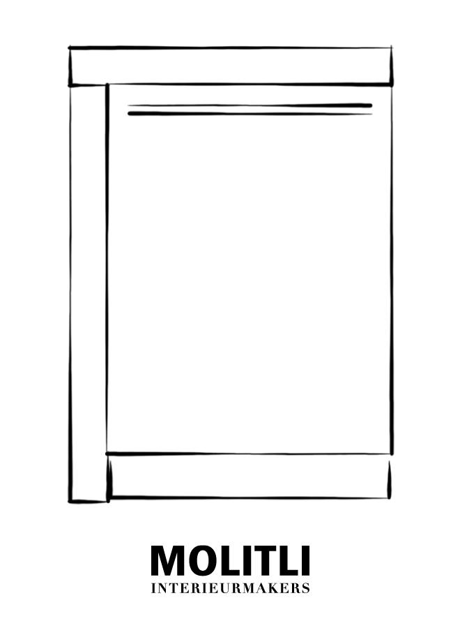 Hoekkast  met deur links 60 cm - blad 8 cm dik - Kast 68 cm breed