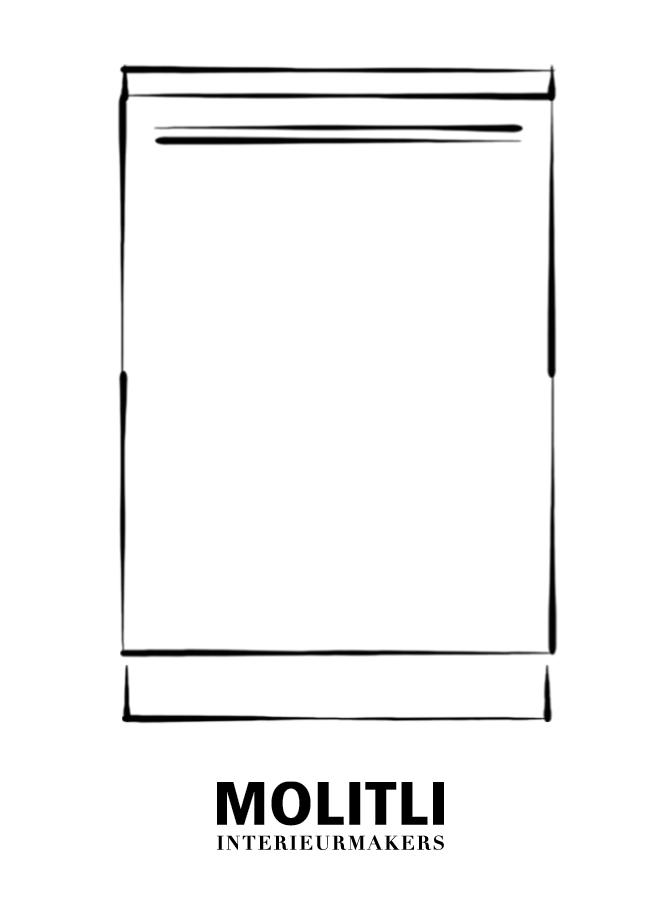 Kast met deur links 60 cm - blad 4 cm dik - Kast 60 cm breed