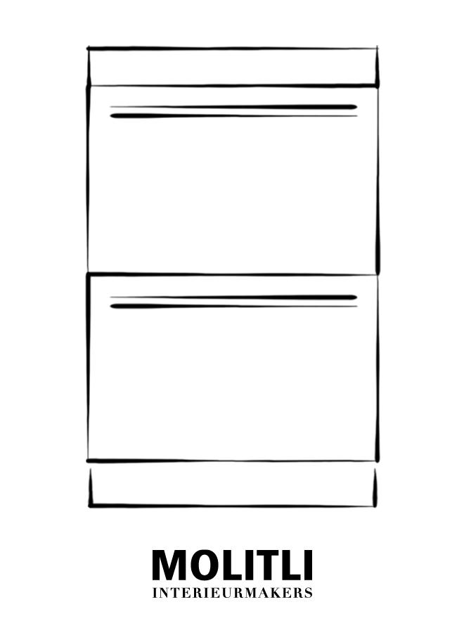 Kast met lades - blad 8 cm dik  - Kast 60 cm breed