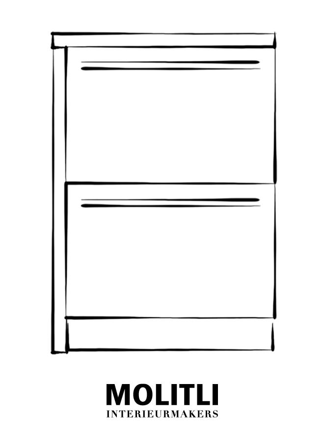 Kast met lades hoek links - blad 4 cm dik - Kast 64 cm breed