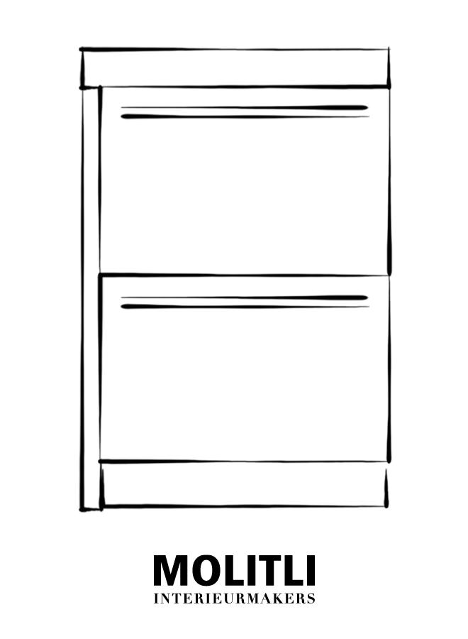 Kast met lades hoek links - blad 8 cm dik - Kast 64 cm breed