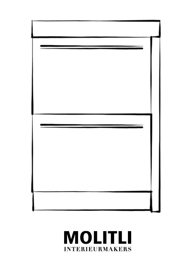 Kast met lades hoek rechts - blad 8 cm dik - Kast 64 cm breed