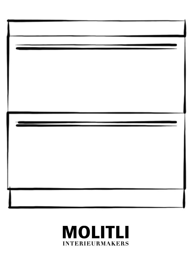 Kookplaat kast met lades - blad 8 cm dik - Kast 90 cm breed