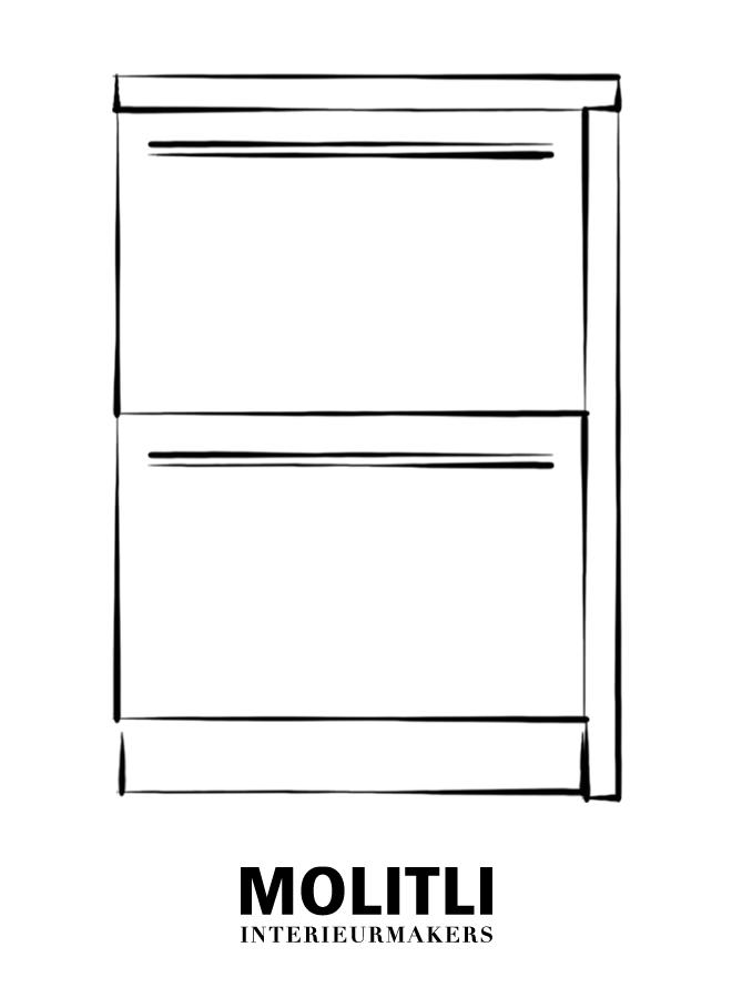 Spoelkast hoek rechts 60 cm breed - blad 4 cm dik - Kast 64 cm breed