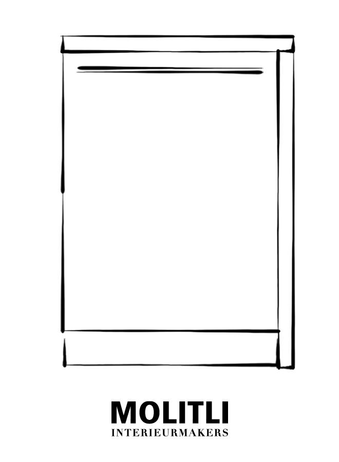 Spoelkast hoek rechts - Blad 4 cm dik - Kast 64 cm breed