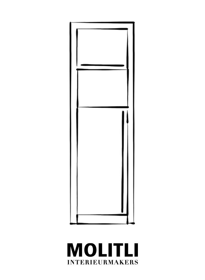 Kast oven + koelkast - Ombouw 8 cm dik Kast + koelkast - Ombouw 4 cm dik - Kast 76 cm breed