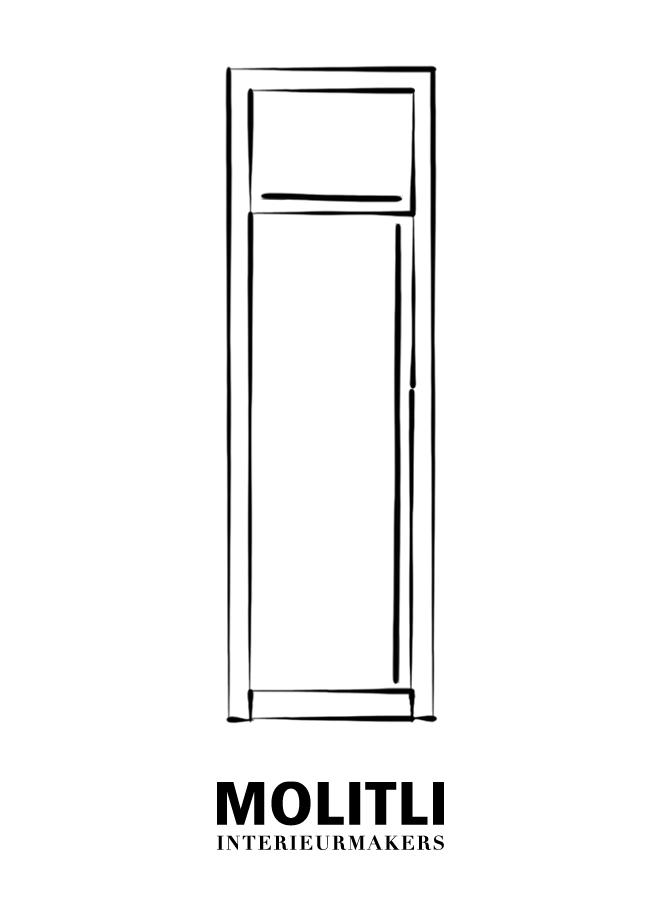 Kast + koelkast - Ombouw 8 cm dik - Kast 76 cm breed