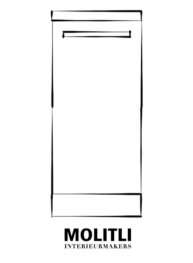 Greep blank staal 2,5 cm dik - 22 cm lang