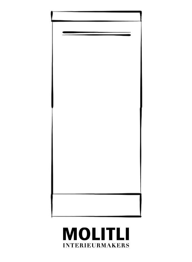 Greep zwart poedercoat 1,5 cm dik - 22 cm lang