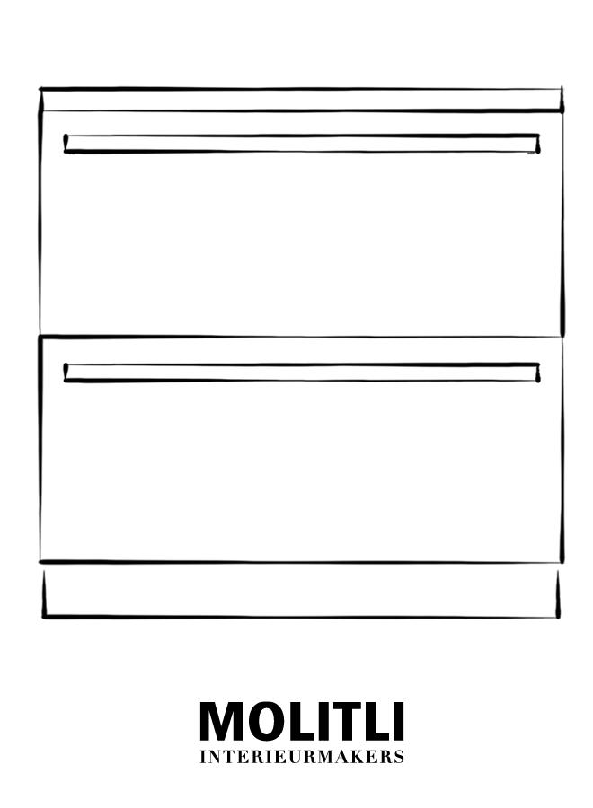 Greep blank staal 2,5 cm dik - 82 cm lang