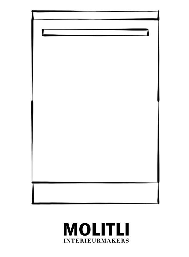 Greep zwart poedercoat 2,5 cm dik - 52 cm lang