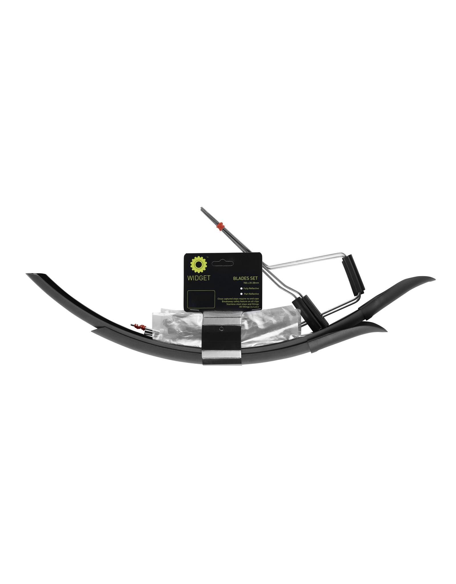 Widget Components Widget Components Mudguards, Fully Reflective 700c x 20-28mm Blades Set, Charcoal/Gloss Black
