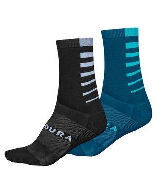 Endura Endura CoolMax® Stripe 2-P Socks, Electric Blue: L-XL
