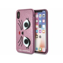 Karl Lagerfeld backcover voor iPhone X/Xr - Roze (3700740410943)