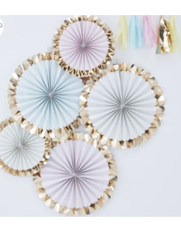 Gingerray GOLD FOILED PASTEL FAN DECORATIONS