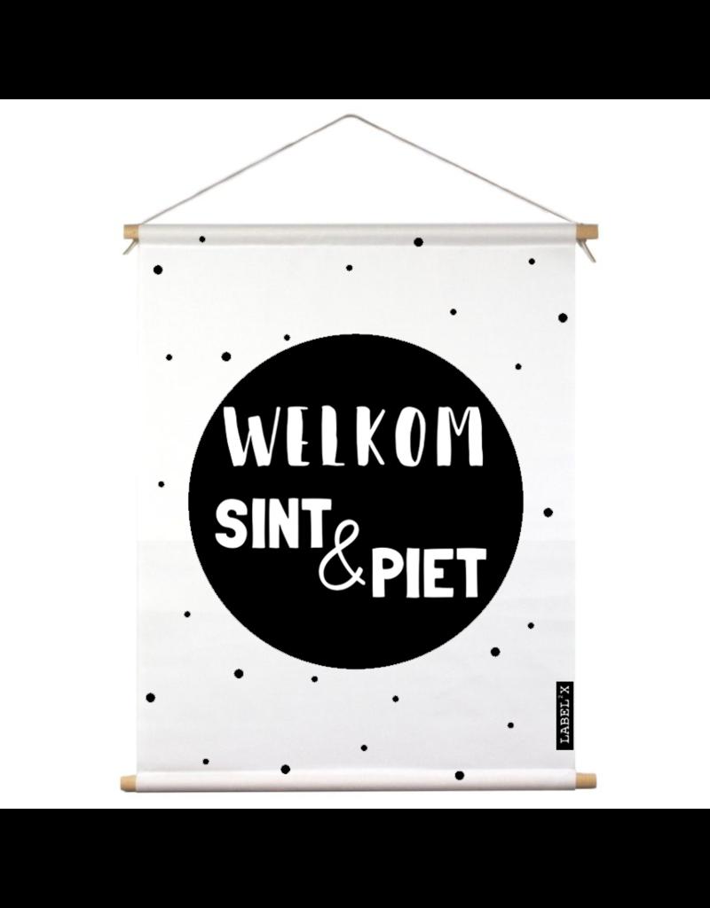 Label2x Textielposter binnen welkom sint & piet