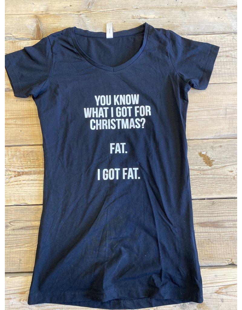 UMustHave Sale zwangerschapsshirt | M | You know what i got for christmas? Fat. I got fat. zwart