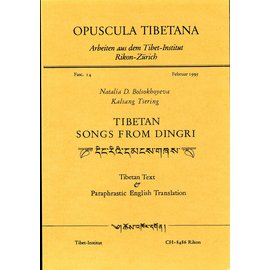 Opuscula Tibetana Tibetan Songs from Dingri, by Nalalia Bolsokhoyeva, and Kalsang Tsering